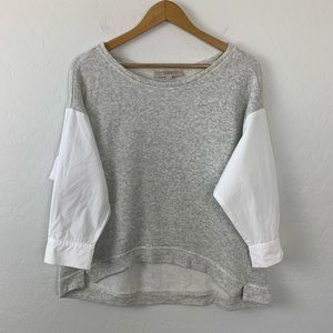 LOFT gray sweatshirt with white shirt sleeves med